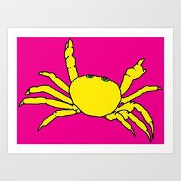 crab art, crab print, pink pop art, Art Print