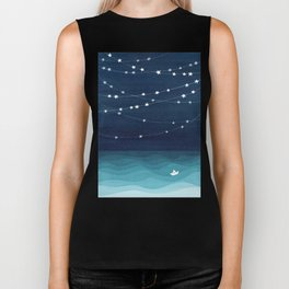 Garlands of stars, watercolor teal ocean Biker Tank