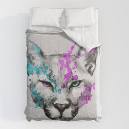 Watercolor snow panther leopard artsy watercolour cougar painting Comforters