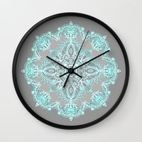 bedding Wall Clocks featuring Teal and Aqua Lace Mandala on Grey by micklyn