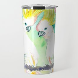 Cockatoos in bottle brush tree Travel Mug
