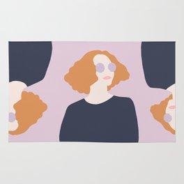 Orange Hair Girl // Minimalist Indie Rock Music Festival Lavender Sunglasses by Mighty Face Designs Rug