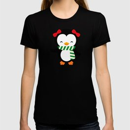 Christmas Penguin Girl Penguin with Bows T-shirt
