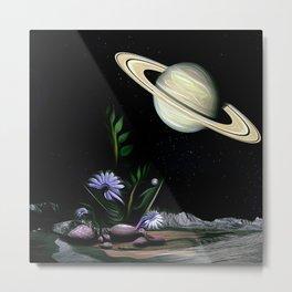Space Floral Saturn Garden Metal Print