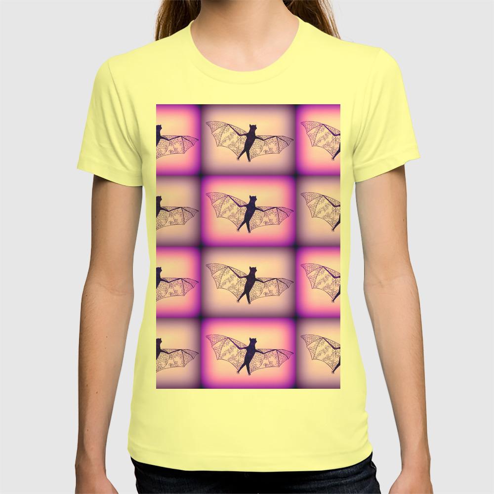 Purple Bat Moustache Womens T-Shirt