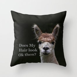 Funny hairstyle alpaca Throw Pillow