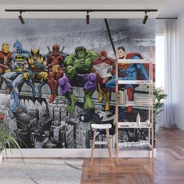 Superhero Lunch Atop A Skyscraper Wall Mural