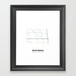 Highways of the USA – North Dakota Framed Art Print