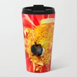 Bumble Bee On Dahlia Travel Mug