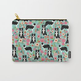 border collie cute florals mint pink black and white dog gifts for dog lover Carry-All Pouch