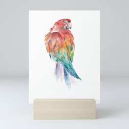 Watercolour Parrot Coloured Drawing with Aquarell colours Mini Art Print