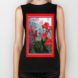 Red Geraniums Floral Red Abstract Biker Tank