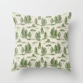 Green Alien Abduction Toile De Jouy Pattern Throw Pillow