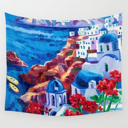 Santorini churches Wall Tapestry