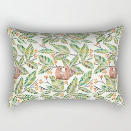 Happy Sloth – Tropical Green Rainforest Rectangular Pillow
