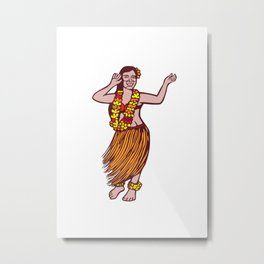 Polynesian Dancer Grass Skirt Linocut Metal Print