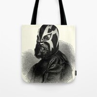 wrestling Tote Bags featuring WRESTLING MASK 9 by DIVIDUS DESIGN STUDIO