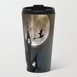 Drawing of a witch leaving her house on a broom in front of a full moon Travel Mug