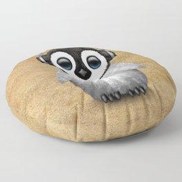 Cute Baby Penguin Dj Wearing Headphones Floor Pillow