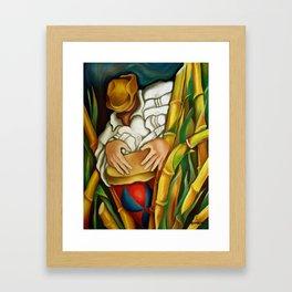 Rumba between sugar canes. Miguez art Framed Art Print