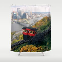 An Autumn Day on the Duquesne Incline in Pittsburgh, Pennsylvania Shower Curtain
