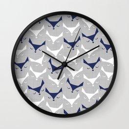 Cat alert // grey linen texture background Wall Clock