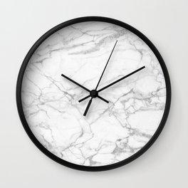 White & Gray Marble Texture Print Wall Clock