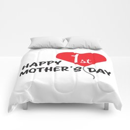 Happy First Mother's day Red Heart Balloon Comforters