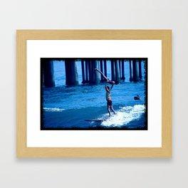 John & Mary Surfing Framed Art Print