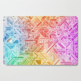 BRIGHT VIBRANT GRADIENT GEOMETRIC SHAPES RAINBOW PRINT TILED MOSAIC TIE DYE COLORFUL Cutting Board
