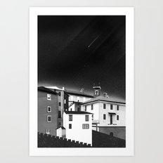 Castles at Night (B&W) Art Print