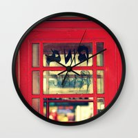 telephone Wall Clocks featuring Telephone by Irène Sneddon