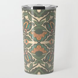 Green Vines Folk Art Flowers Pattern Travel Mug