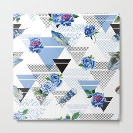 Blue roses geometry Metal Print