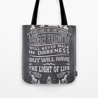 bible verses Tote Bags featuring Typographic Motivational Bible Verses - John 8:12 by The Wooden Tree