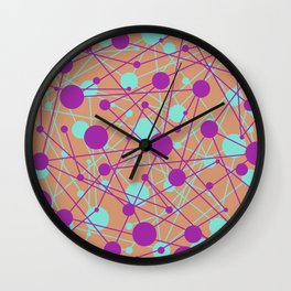Molecular Madness (Pastel purple, blue and orange) Wall Clock