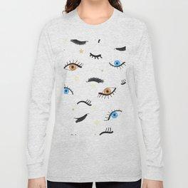 Beauty Eyes and Eye Lashes Pattern Long Sleeve T-shirt