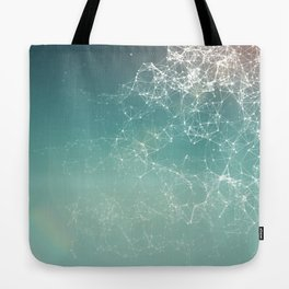 Fresh summer abstract background. Connecting dots, lens flare Tote Bag