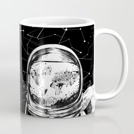 astronaut world map black and white 1 Coffee Mug