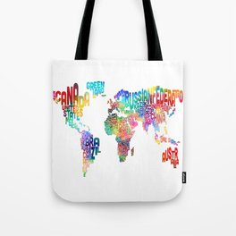 Typography Text Map of the World Tote Bag