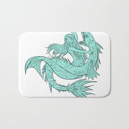 Mermaid Grappling With Sea Serpent Drawing Color Bath Mat