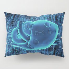 Gamer Heart BLUE TECH / 3D render of mechanical heart Pillow Sham