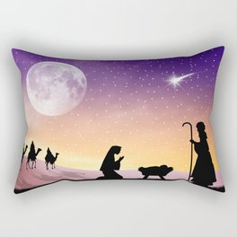 Holiday Christmas The Three Wise Men Moon Jesus Ma Rectangular Pillow