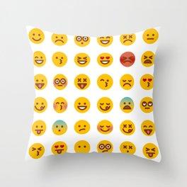 Cute Set of Emojis Throw Pillow
