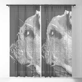 english bulldog dog vector art black white Sheer Curtain