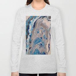 Abstract Painting - Blue and Silver Fluid Art - Organic Fluid Design Long Sleeve T-shirt