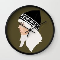 feminist Wall Clocks featuring Feminist (Gold) by Anna McKay