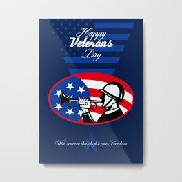 Modern Veterans Day American Soldier Greeting Card Metal Print
