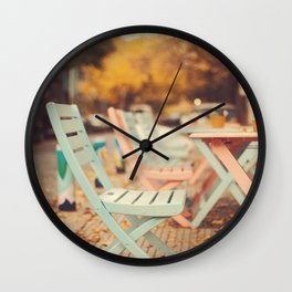 Dream Autumn (Pink and blue coffee shop chairs on retro and vintage fall) Wall Clock