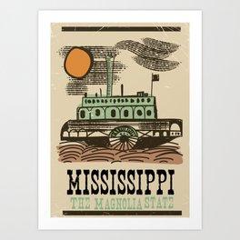 "Mississippi ""The Magnolia State"" Paddleboat vintage poster Art Print"